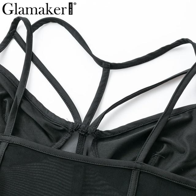 Glamaker Mesh black sexy teddy bodysuit Women transparent strap bodysuit Female summer bandage bodysuit one-pieces 2019 jumpsuit 5