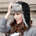 2015 Winter Hat Ear Flap Russian Bomber Hats Faux Fur Ski Beanie Hat Cap For Women Warm Cap