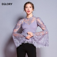 New 2018 Autumn Winter Tops Women Sexy Sheer Lace Patchwork Flare Sleeve Vintage Tops Sweater Ladies Purple Tops Pullovers Femme