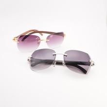 Vintage Diamond Cutting Natural Wood Sunglasses Men Black White Buffalo Horn Oversize Shades Rimless Frame for Outdoor Gafas