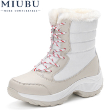 MIUBU women snow boots winter warm boots thick bottom platform waterproof ankle boots  thick fur cotton shoes size 35-41 hot sale women winter shoes waterproof thick bootleg plush warm fur snow boots parents high boots plus size 41 free shipping