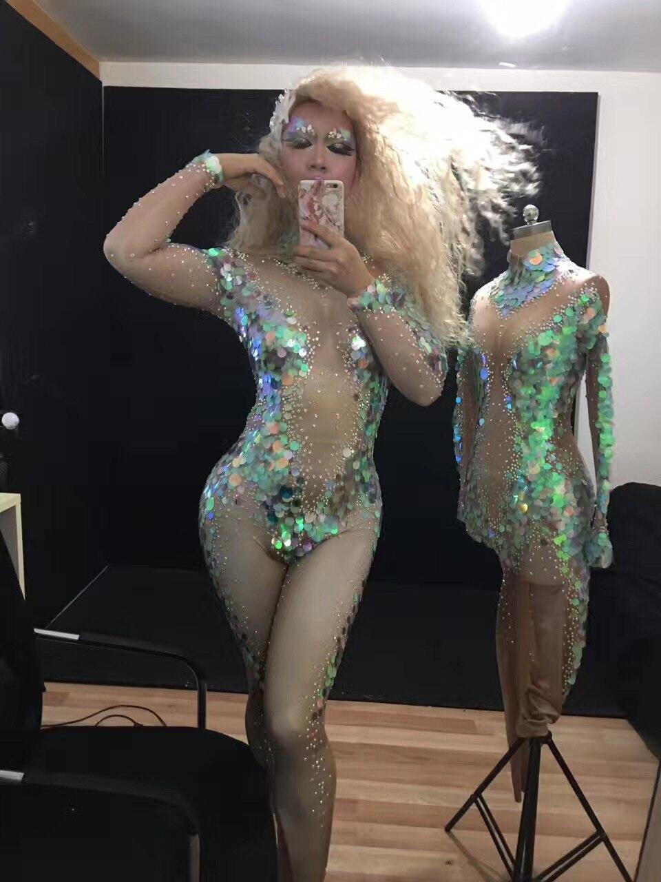 Женские блестящие Лазерные Блестки Русалка комбинезон рыбья чешуя наряд костюм тощие знаменитости партия Стразы этап одежда Комбинезоны