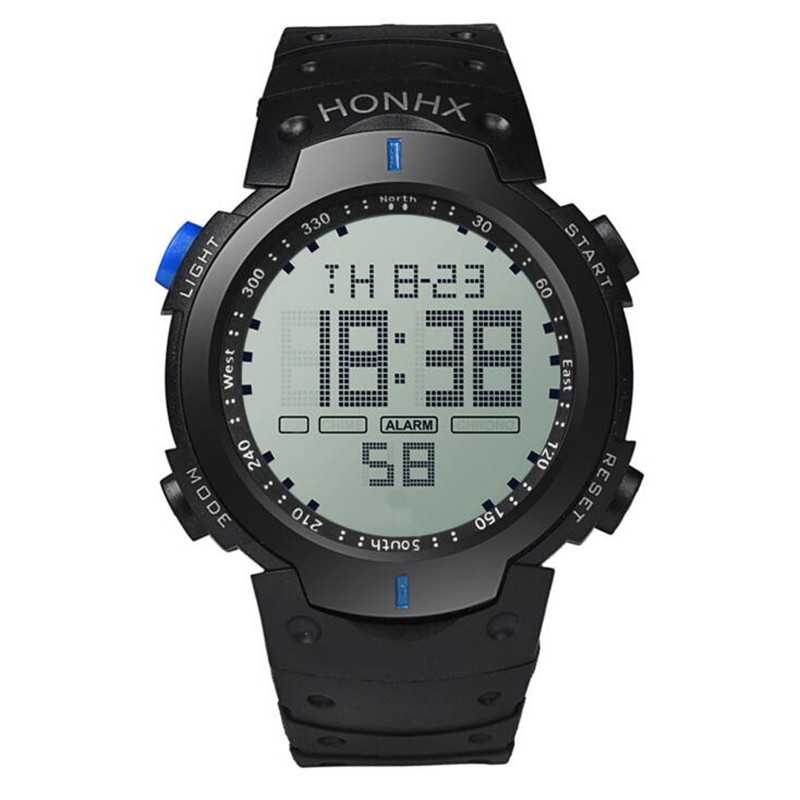 Big Screen Luminous Multi-functional Outdoor Waterproof Men Watches LED Sports Black Electronic Hombre Relogio Digital Clock E32