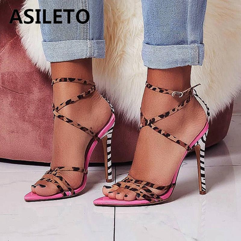 ASILETO11cm Stiletto high heels Leopard zebraGladiator Sandals Cross tied Strappy Open Pointed toe Sandals size 41