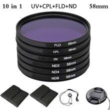 цена на 58mm UV+CPL+FLD+ND Polarizing Fluorescent Neutral Density Filter Kit for Nikon Canon Sony Pentax DSLR