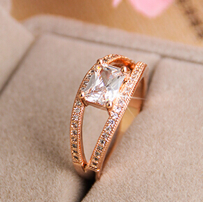 Big Gem New RGP Fashion plated gold color Plated Zircon Crystal Jewelry Rings Wholesale B8D25259 ABC
