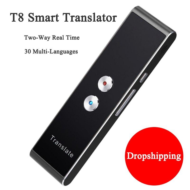 Traducteur vocal intelligent Portable T8 pour livraison directe (peut être expédié des états-unis, du royaume-uni, de l'allemagne, de l'italie, de la France et de l'espagne)