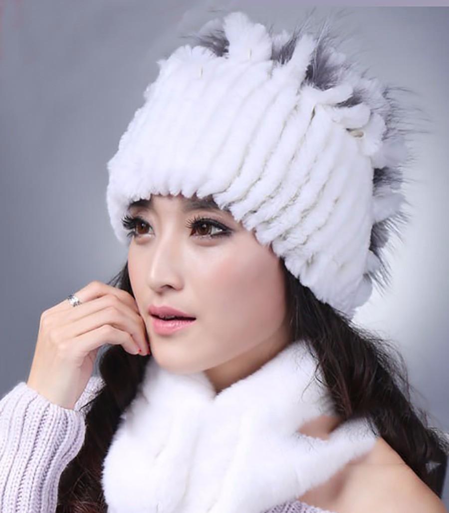 b154a1b612af Г жа Рекс кролика шерсть зимой меховая шапка Зима 2017 Повседневная Рекс  кролик ...