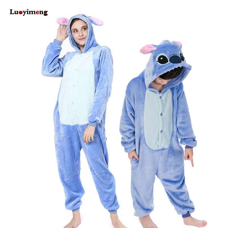 Новые стежки Комбинезоны для взрослых пижамы унисекс синий розовый Стич  Косплей праздничная одежда пижамы Аниме детские 25660e524db8d