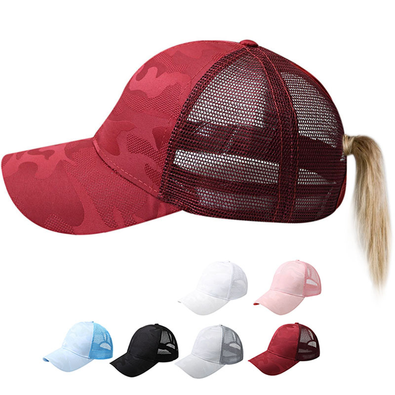 Ponytail Messy High Bun Hat Ponycaps Baseball Cap Adjustable Trucker Cap Mesh Cap