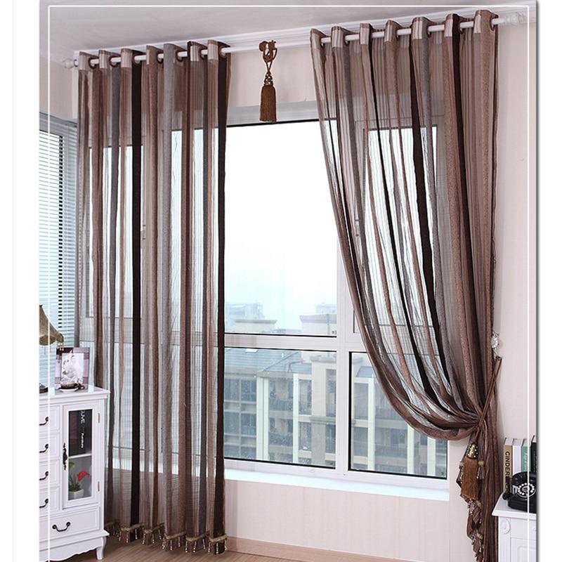 {Byetee} European Design Strip Chenille Window Curtain For Living Room Kitchen Drapes Kitchen
