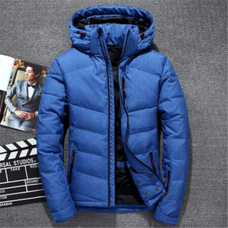 2018 Winter New   Down   Jacket Men 90% White Duck   Down   Men X-Long Section Casual Thickening Warm Youth Men'S Hooded   Down     Coat