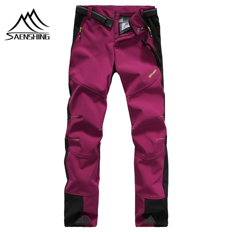 SAENSHING Softshell Pants Autumn Winter Women Hiking Outdoor Trousers Waterproof Windproof Thermal for Fishing Camping Hiking