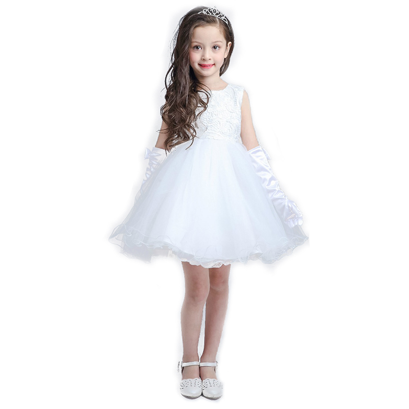 ФОТО 2016 latest high-end wedding white flower girl dresses girls princess dress tutu dress perfect birthday party children dress