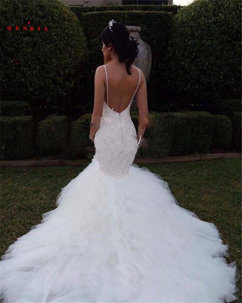 Custom Made Mermaid Backless Ruffle Train Lace Crystal Beaded Sequins Sexy Luxury Wedding Dresses Bridal Wedding Gowns SA10M in Wedding Dresses from Weddings Events