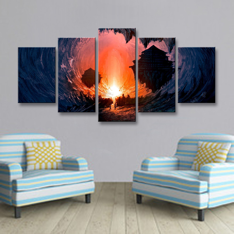 5 pieces high-definition print fantasy Art canvas oil painting poster and wall art living room picture DM-006 (6)