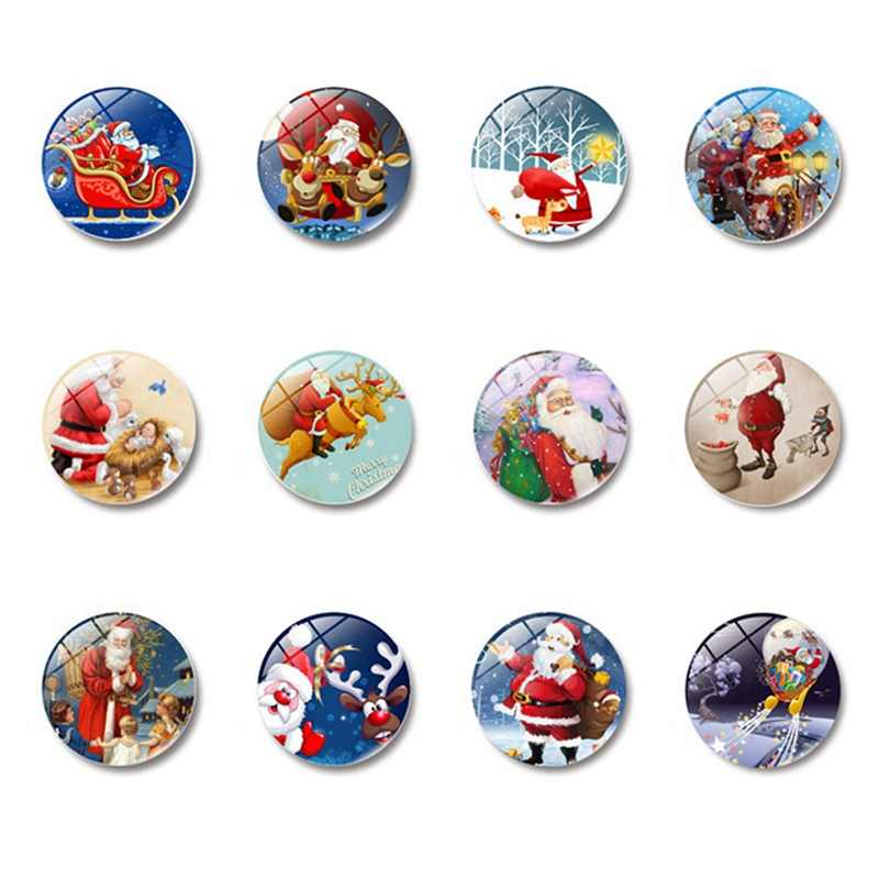 Merry คริสต์มาส 30 มม.ตู้เย็นแม่เหล็ก Santa Claus กวางขนาดใหญ่แก้วโดมแม่เหล็กตู้เย็นสติกเกอร์หมายเหตุ Home Decor