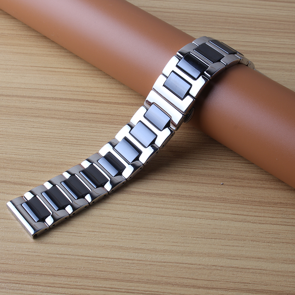 For Samsung Gear S4 watchband quality ceramic wrap metal watch strap 20mm luxury solid link bracelet black white butterfly clasp for samsung gear s2 classic black white ceramic bracelet quality watchband 20mm butterfly clasp
