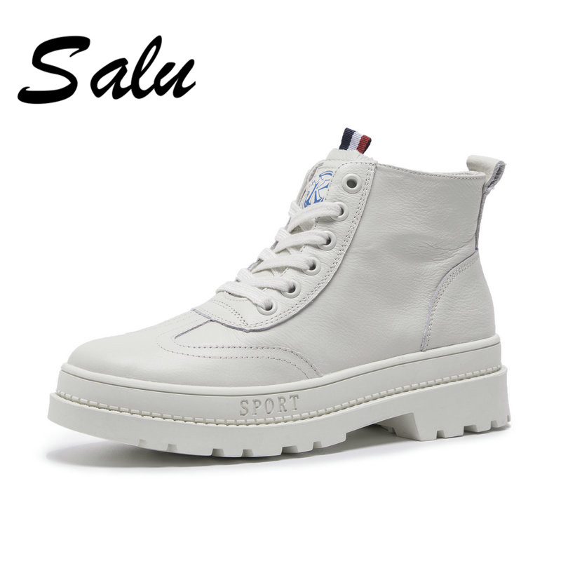 Salu 2018 new Fashion Genuine leather Women Boots Lace Up Classic Shoe High Top square high heel Brand Casual Shoes Boots цена в Москве и Питере