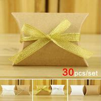 Kraft Paper Pillow Square Candy Box Rustic Wedding Favors Candy Holder Bags Wedding Party Gift Boxes