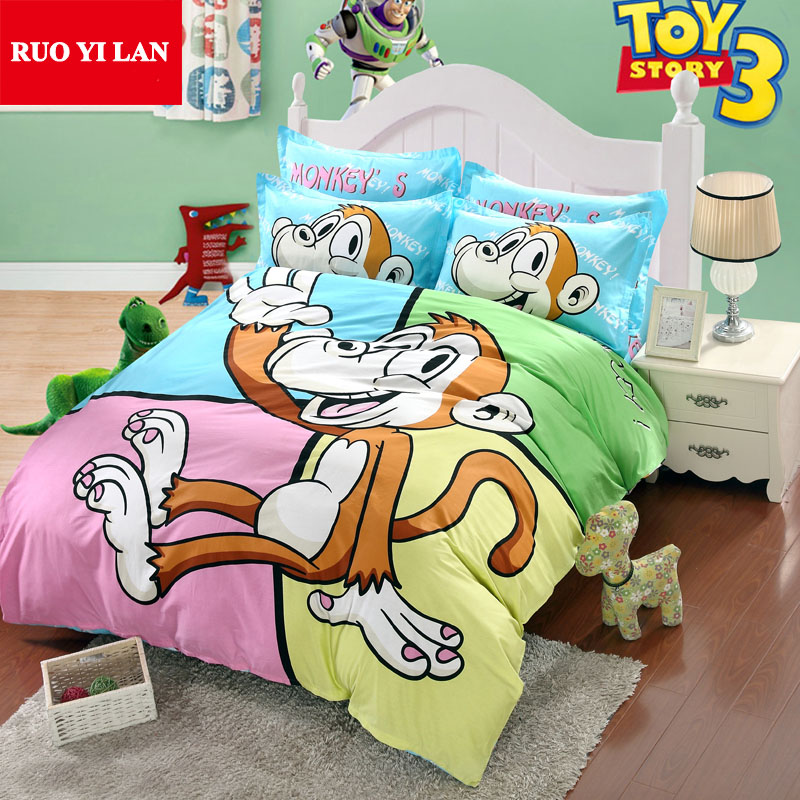 Happy Monkey 100  Cotton Twill Duvet Cover Set Cartoon Quilt Cover Queen  Home Bedding for. Online Get Cheap Monkey Comforter  Aliexpress com   Alibaba Group
