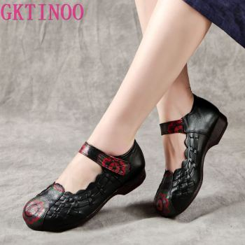 GKTINOO Genuine Leather Flat Shoes Woman Handmade Leather Loafers Flexible Spring Casual Shoes Woman Flats Zapatos Mujer spring autumn women ballet flats shoes for woman casual loafers single shoes lady soft work draving footwear zapatos mujer