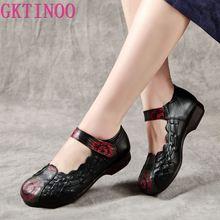 GKTINOO Hakiki Deri düz ayakkabı Kadın El Yapımı deri makosenler Esnek Bahar rahat ayakkabılar Kadın Flats Zapatos Mujer