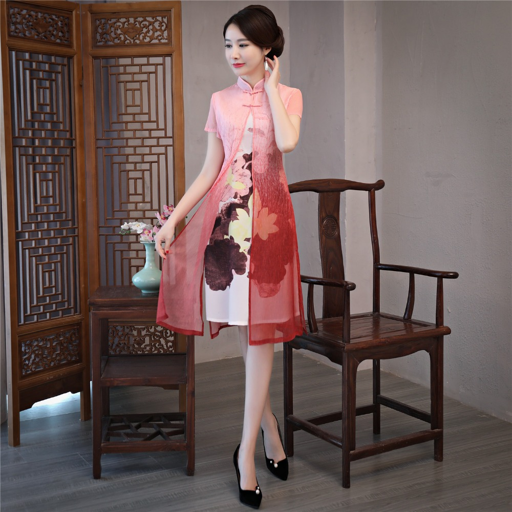 Shanghai Story 2019 Spring Chinese Traditional Dress Set Cheongsam Qipao Dress with Pink Faux Silk Coat Summer