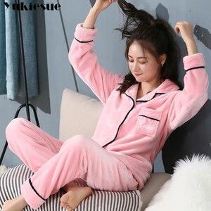 Image 3 - Thick Warm Flannel Pajamas Sets Winter Women Two Piece Pajama Set Cartoon Female Sleepwear Home Clothing Womens Pajamas Suit