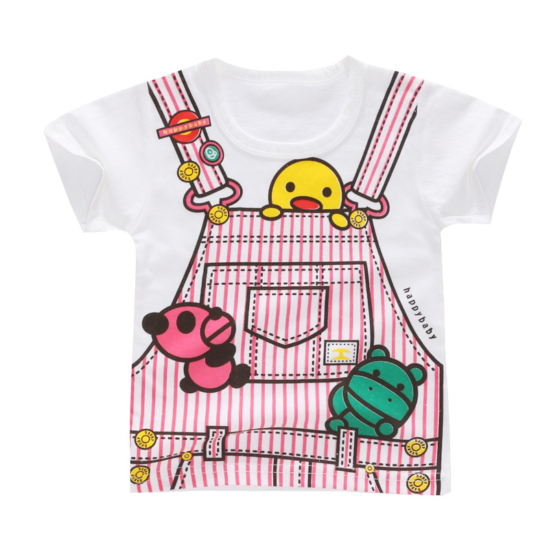 Toddler Kids Baby Boys Girls Tops Cartoon Printed Soft Cotton T-shirt Clothes