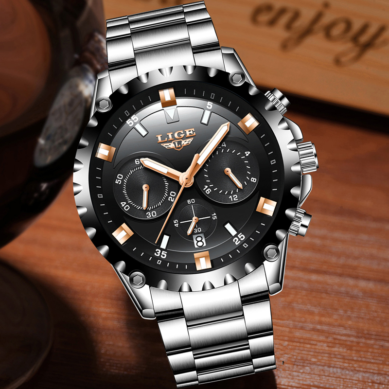 2018 LIGE Watch Men Fashion Sport Quartz Clock Mens Watches Top Brand Luxury Full Steel Business Waterproof Watch Reloj Hombre in Quartz Watches from Watches