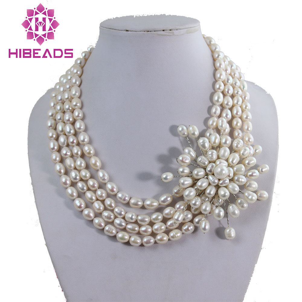 Hot Sale Freshwater Pearl Jewelry Necklace Rice Pearl Beads Necklace Handmade Wedding Necklace Unique Item PJ003