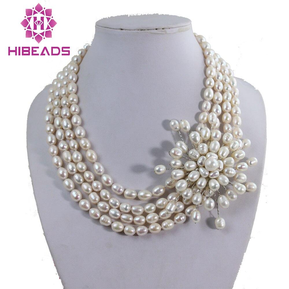 Offre spéciale collier de bijoux en perles d'eau douce collier de perles de riz à la main collier de mariage article Unique PJ003