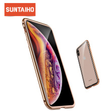 Suntaiho for iphone XR case Phone cover for iphone 7 plus case Metal + glass luxury phone case for iphone XS Max case 8 Plus