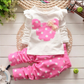 Spring Autumn baby girls minnie mouse clothing set kids Sport suit set children tracksuit T-shirt +pants 2 pcs christmas clothes