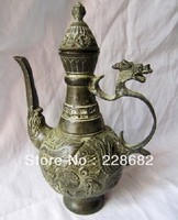 Asian Antiques Chinese Bronze Wine Pot Teapot Carving Dragon And Phoenix Free Shipping