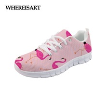 WHEREISART Flaningo Printing Women Shoes Mesh Breathable 2019 Female Soft Sneakers Lightweight Walking Casual Vulcanize Footwear