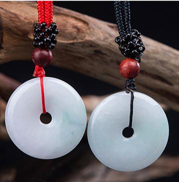 Genuine natural Burmese stone pendant necklace carved double color donut pendant men and women JADES jewelry childrens style