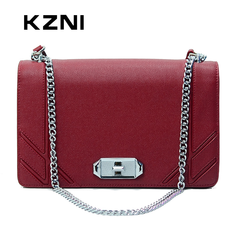 KZNI Genuine Leather Handbag Women Phone Bag Leather for Women Bag Quality Designer Handbags High Quality Bolsas Feminina 9017 kzni genuine leather purses and handbags bags for women 2017 phone bag day clutches high quality pochette bolsa feminina 9043