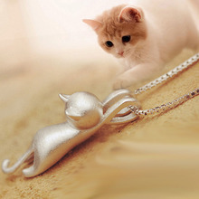 Silver Plated Necklace Girl Cats Pendants 3D Brushed Kitten Necklace New Jewelry Fashion Hot