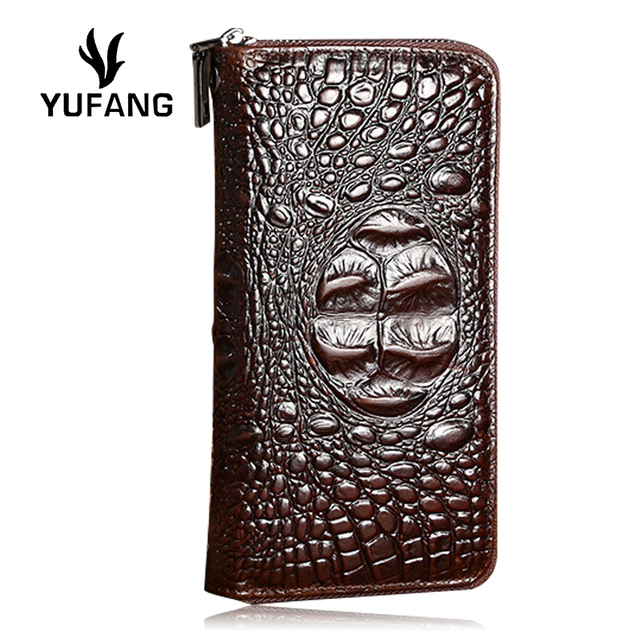 YUFANG Male Purse Crocodile Long Clutch Money Bag Real Leather Men Wallet  Genuine Leather Card Holder f23c14291c149