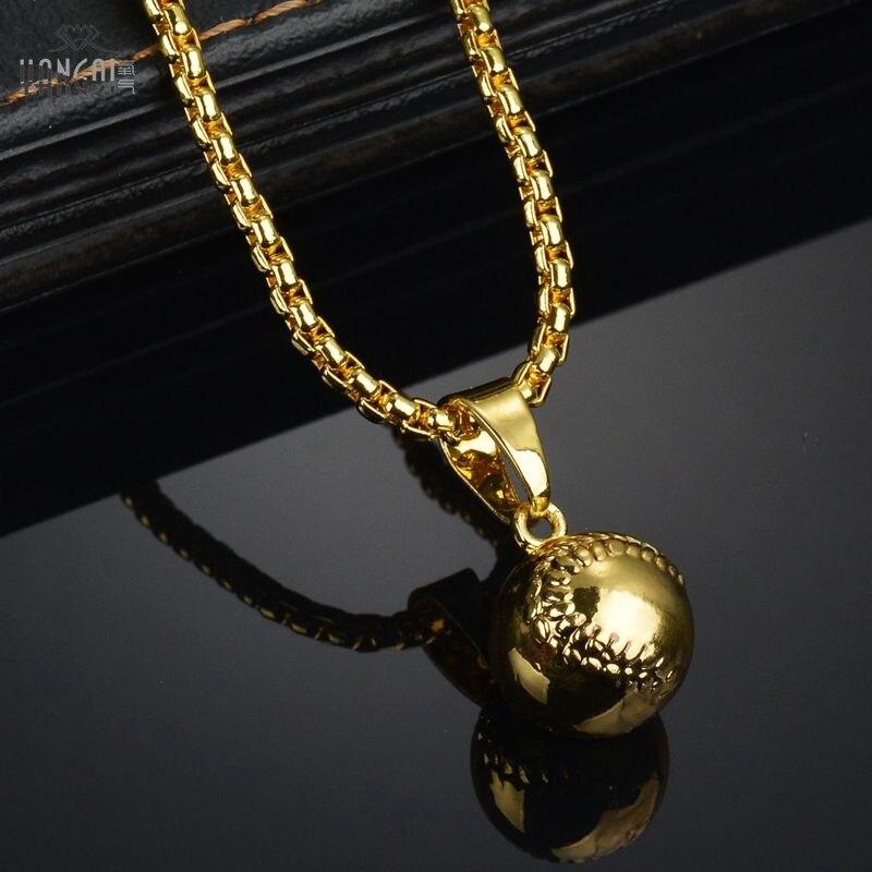 b565bd1baab5 Color de Oro de alta Calidad de Hiphop Collar Colgante de Béisbol Hip Hop  Largas Cadenas