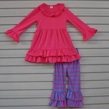 Automne Vêtements Pour Enfants Définit Coton Filles Boutique Tenues Enfants t-shirts Bande Pantalon Costume Enfant Bébé Vêtements F098