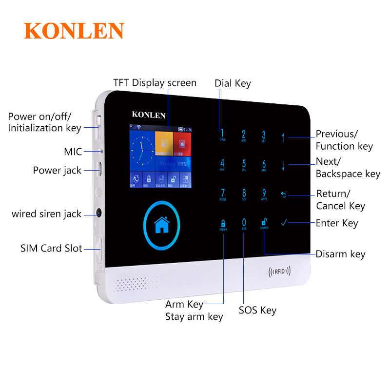 KONLEN House Security GSM Wifi Alarm System Kits Wireless Strobe Siren  Solar Horn Smoke Detector RFID Remote Control Rir Sensor