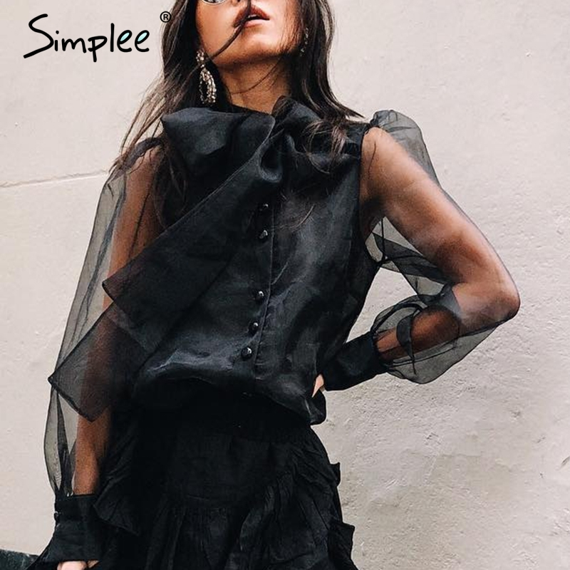 Simplee Sexy see through mesh women blouse shirt Turtle neck bow tie buttons female black top shirtl Fashion party club blouse