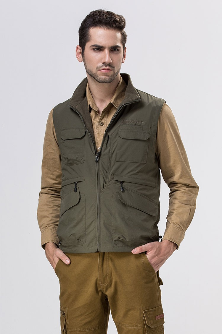 2015 Autumn Spring Casual Men Vest Coat Fleece AFS JEEP Cotton Multi Pocket 4XL Cargo Outdoor Sleeveless Jackets Waistcoat Vests (4)