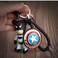 Avengers Marvel Character Captain America Shield KeyChain Popobe Bear PU Strap Key Chains Pendant for Backpack Car Keyring
