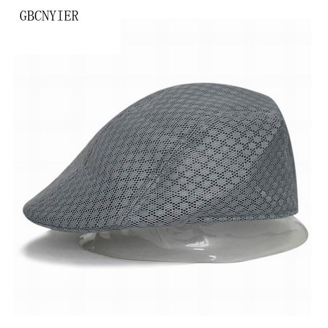 GBCNYIER barato boinas Unisex malla hombres y mujeres boina verano  transpirable sombrero ala corta malla visera c5eb9b199d0
