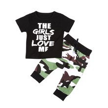 New Lovely Newborn Boy Clothes Trousers T-Shirt Short Sleeve + Trousers 2 pcs Set Fall 0-24M 2018 Spring O-Neck Letter Clothes