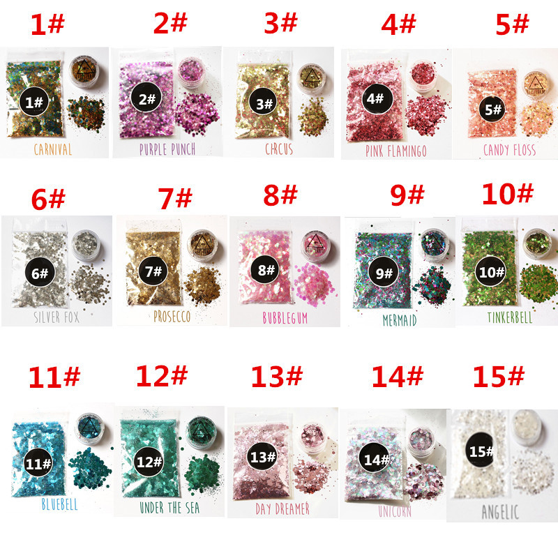 1pc 15 Colors Hybrid Sequins Glitter Round Colorful Body Glitter Pots Nail Face Eye Shadow Glitter Tattoo Festival Makeup